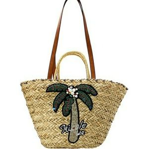 NICOLE LEE NATURAL BRAIDED STRAW CACTUS BAG/TOTE!
